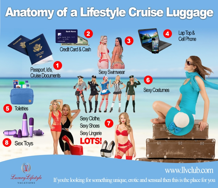 anatomy of a swingers cruise luggage, swingers cruise, what to pack for a swingers cruise, lifestyle cruises